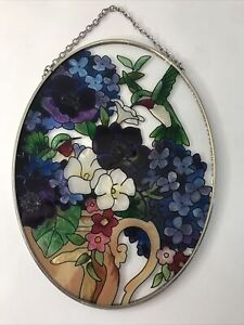 """Green Hummingbird Flowers Suncatcher Figure Reverse Hand Painted Glass 7x5.5"""""""