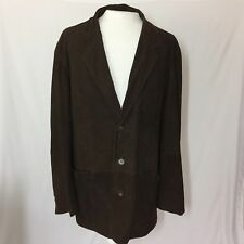 The Territory Ahead Men's XXL Brown Suede Leather 3 Button Blazer Field Jacket