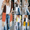 Women Long Sleeve Patchwork Knitted Cardigan Sweater Casual Outwear Coat Jacket