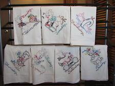 Hand Embroidered PIG Flour Sack Dish Towels - Set Of 7 - Unused