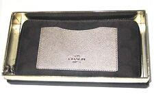 Coach Signature Brown Gold Accordion Zip Around Wallet F22712 New In Box $285