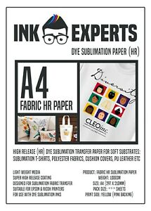 A4 Fabric HR 100g Sublimation Transfer Paper 100 Sheet for T-Shirt & Fabrics