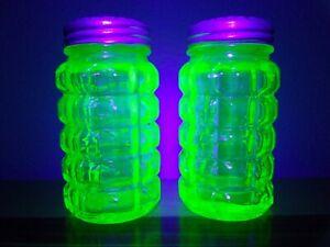 "Vaseline Uranium Glass 3.25"" Salt & Pepper Shakers w/ Embossed Floral Metal Lids"