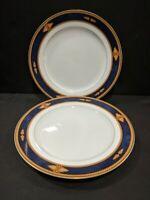 Vintage Set of 2 Wedgwood Foxworth Bread Butter Plates Blue Gold Trim Porcelain