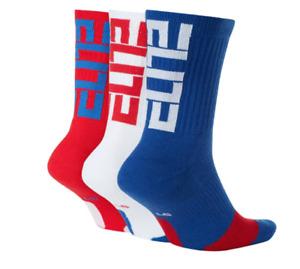 Nike Socks Mens XL Authentic DriFIT Elite Basketball Crew 3 Pairs Red White Blue