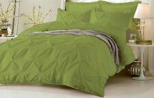 Puckered Ruffle Pintuck Pinch Duvet Cover & Pillowcase Bedding Set Moss