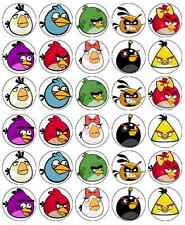 30 x Angry Birds Edible Cupcake Toppers Wafer Paper Fairy Cake Topper