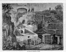 Stampa antica ROMA veduta delle Terme di CARACALLA 1870 Old print Rome