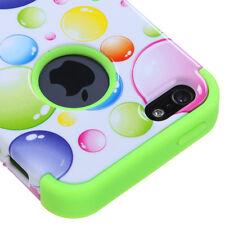 Apple iPhone 5 Rubber IMPACT TUFF HYBRID Case Skin Phone Cover Rainbow Bubbles