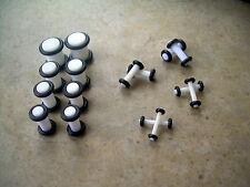 Acrylic White 14g-0g  Ear Plugs 8 Pairs 16 Pcs Kit Set Gauges