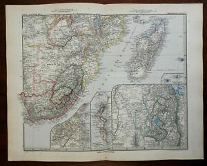 South Africa Boer Republics Zanzibar Madagascar 1896 Luddecke detailed map