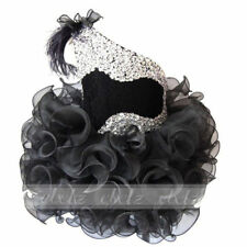 Black Baby Girls Toddler Glitz Cupcake Pageant Feather Dress Mini Tutu Gown Hot