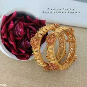 Indian Fashion 2 Pcs Bollywood Gold Plated AD Jewelry Ethnic Bangles KADA BF