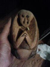 Tiki Beach Carved Monkey, Smoking Cigarette, Coconut Or Palm Wood.