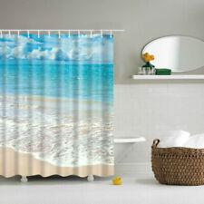 Fabric Shower Curtain Beach Scene Waterproof Bathroom Drapes Divider Panel