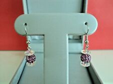 SHAMBALLA CRYSTAL BEADS(PURPLE COLOR)  WITH CRYSTAL FLOWER EARRINGS