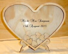 Guest Book, Heart Shaped wood Guest Book, Drop Box, Signature Frame 120 Plywood