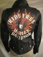 Harley Davidson Flame II Ride Free Heavy Weight Leather Jacket 98134-03VW Small