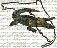 Camo Alligator Gator Mississippi MS State Outline Vinyl Decal Sticker Hunting