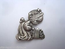 Mexican Jewelry 925 Silver Sterling Brooch Pin Sign PM Child Watering Can 01027