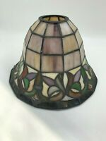 Vintage  Tiffany Style Stained Leaded Art Glass Lamp Shade