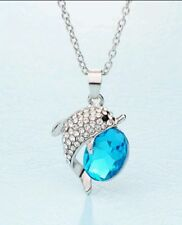 crystal dolphin blue necklace pendent wedding birthday christmas bridel 865