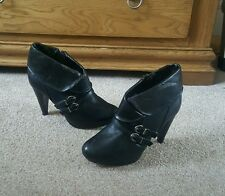 black real leather ankle boots size 3