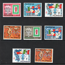 124. PHILIPPINES 1968 SET/8 STAMPS SPORTS, OLYMPICS, FLAGS,STAMP ON STAMPS. MNH