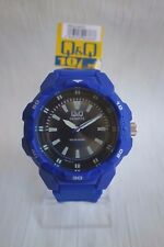 Q and Q Diver Analog Watch-100M Water Resistant Florescent Blue Model VR54J007Y