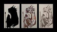 Airbrush Schablone Step by Step / Stencil / 204 Zauberer mit Drache