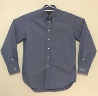 Banana Republic Men's Button Shirt Blue Check Cotton 80's Two Ply Fabric Size S