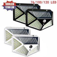 76/100/120LED Solar Wandleuchte Bewegungsmelder Wasserdichte Outdoor Gartenlampe