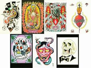 Postcards of Tattoo Flash by Ed Hardy Daniel Higgs and Fred Corbin - Lot of 7