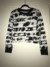 Cheap Monday Sweater Size Small Black White Striped Jumper Sweatshirt Cropped