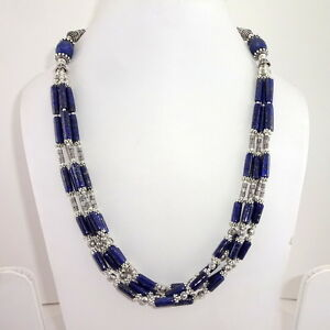 NECKLACE NATURAL BLUE LAPIS LAZULI GEMSTONE BEADED HANDMADE CHARMING  82 GRAMS