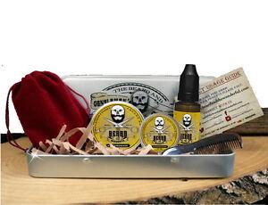 Beard Grooming Gift Set, Mustache Wax,Beard Balm, Oil,Comb - Lemongrass Scent