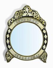 Medium Ornate Round Moroccan Mirror with diamonds insert & legs - White Henna