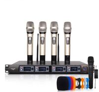 Wireless Microphone System Professional 4 Channel Dynamic Handheld Metal Mic New