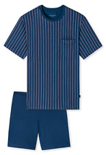 SCHIESSER Herren Trendiger Kurzarm Schlafanzug mit Schlaf-Short gemustert