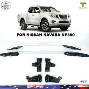 Fit 2014+ Nissan Navara NP300 D23 4 Doors ABS Plastic Silver Roof Rail Bar 4WD
