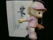 zb Precious Moments Ornament-Girl Softball/Baseball Player-Little Champ