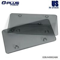 2x Smoke Tinted License Plate Covers Tag Frame Bubble Shield