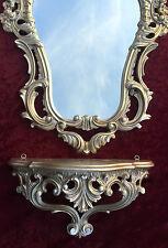 Specchio Da Parete Oro Barocco+Console muro Oggetto d'antiquariato 50 x 76