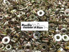 (25) Metric M6-1.0 Flange Hex Nuts Yellow Zinc grade 10.9 Smooth Bottom  6mm