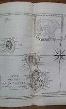 MAP COOK Carte des Isles de la Societe Society Islands Leeward Iles Sous-le-Vent