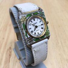 Vintage Sheffield Lady Enamel Bezel Roman Analog Quartz Watch Hours~New Battery