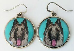 Belgian Tervuren Dog Original Art Earrings