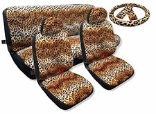Tan Leopard Spotted Fur Print Car Seat Cover Set Bench Front Steering Wheel 13pc
