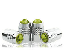 Green Crystal Locking Chrome Metal Tire Air Valve Stem Cap-DD