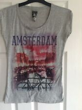 grey womens Amsterdam print t-shirt tee size 8 Great condition